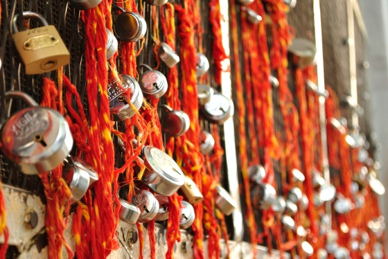 Locks as mannats - wishes - at the Khwaja Bande Nawaz Dargah. This was the first time i saw something other than threads being used to ask for a wish to be granted.