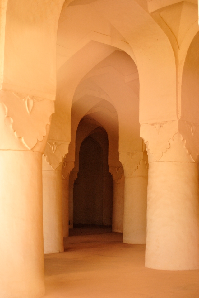 Inside the Sola Khamba Masjid, Bidar.