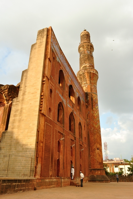 The facade of the madrasa. You can see hints of the destruction caused by fire on the extreme left of the picture.