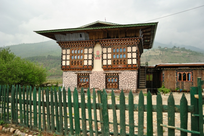 The astonishing art work on the houses across Bhutan, first seen in Paro. The phallic symbol is painted on the outside of houses (and sometimes on doors) too ward off the evil eye and as a symbol of fertility.