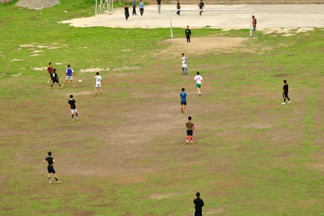 A game of football in progress as we entered Mongar.
