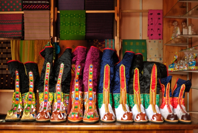 Bhutanese boots, mostly worn by royalty or people during celebrations. They cost nothing less than 3,000 bucks.