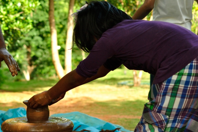 The youngest in the family gives pottery a shot.