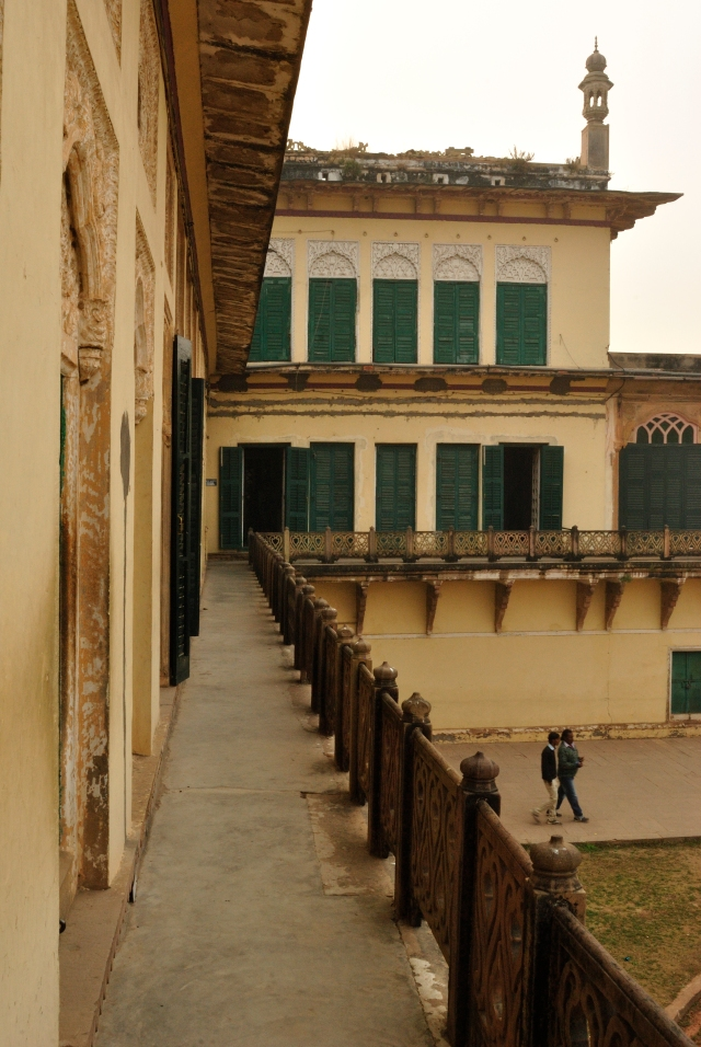 At the Ramnagar Fort, pausing to take a picture. The architecture brings Sanjay Leela Bhansali's Devdas to mind.