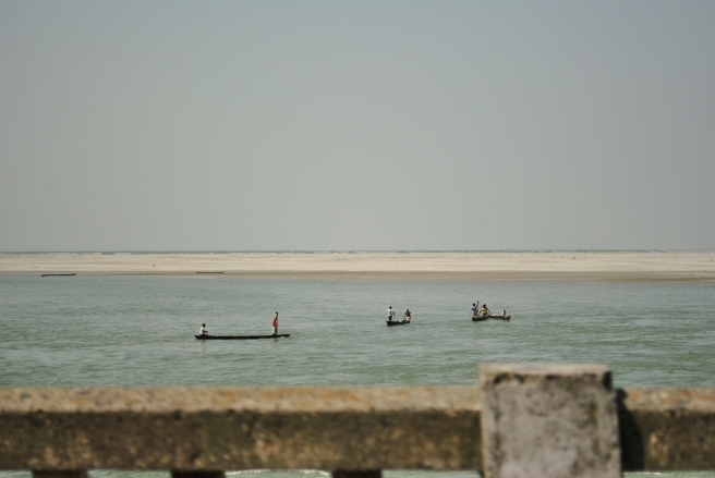 Fishing in shallow waters, en route Janakpuri.