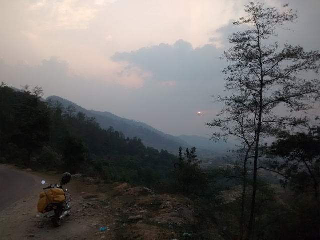 Giving the wheels a sunset break, on the way to Pokhara.