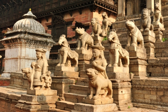 Stone carvings at one of the many temples found in Bhaktapur Darbar Square.