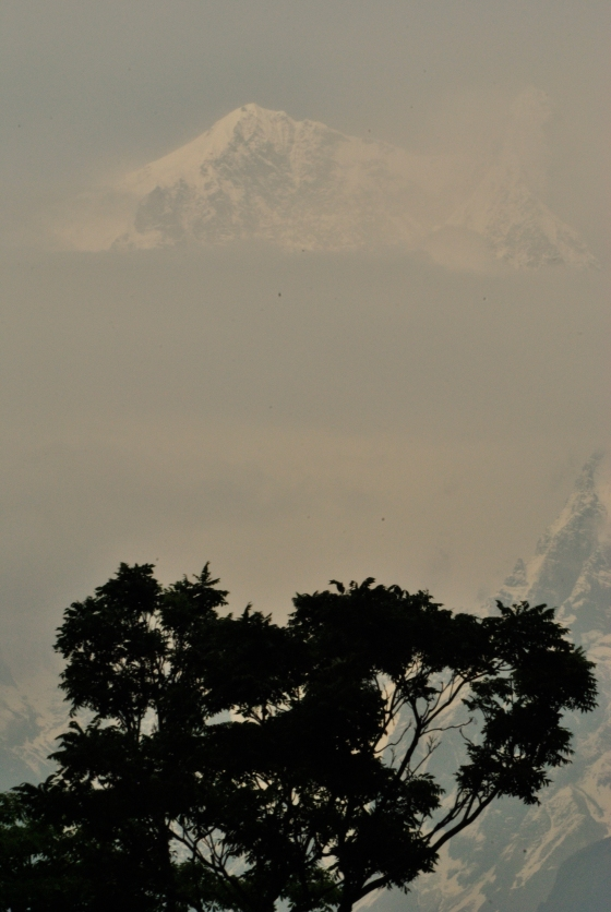 A glimpse of the snow-capped Annapurna range, Tatopani.