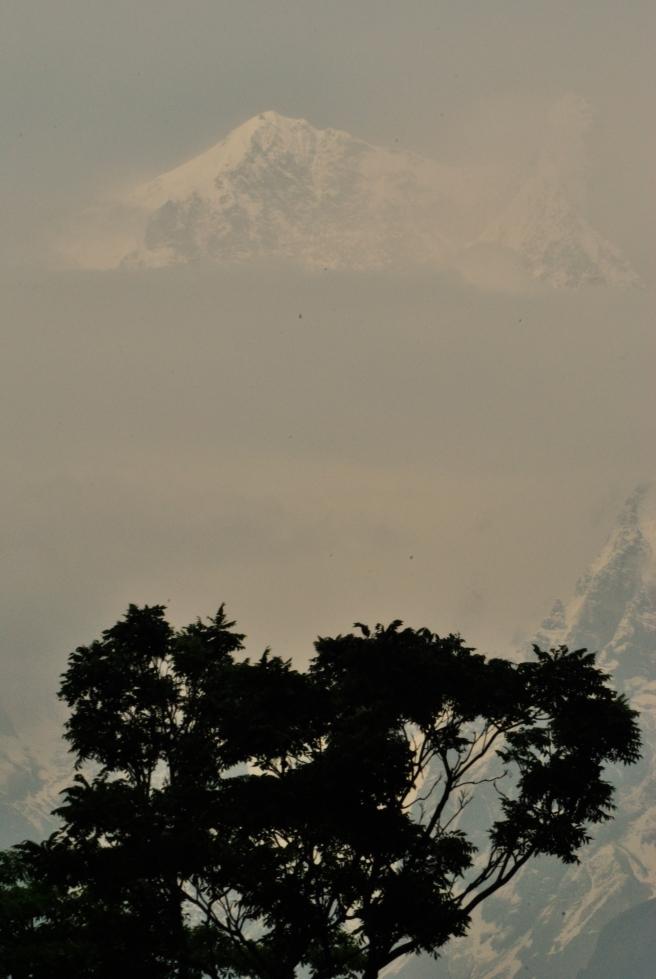 A glimpse of the snow-capped Annapurna range, Tatopani.