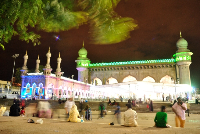 Jumma Masjid after the dusk prayers.