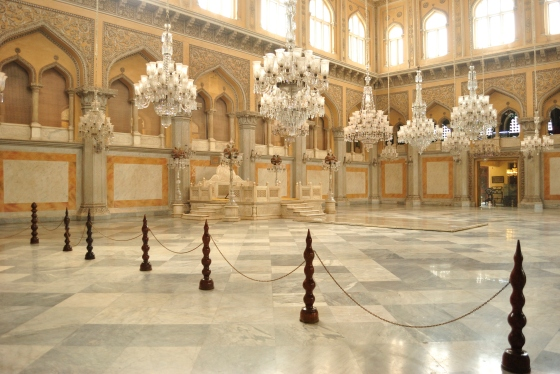The Durbar - made of solid marble and flanked on the sides and from the ceiling by crystal chandeliers.