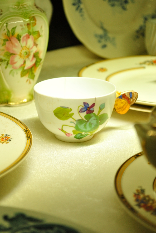 Most of the Chinaware housed in Chowmahalla consists of elaborate pieces that were gifts from neighbouring countries whose kings visited the Nizam. This one was especially pretty because it had an ornate butterfly in the place of a handle.