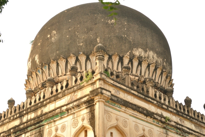 One of the many tombs at Qutub Shahi Park. One can still see hints of the enamel work in the facade near the dome. When I was a kid, I used to collect the chunks of fallen Enamel pieces, almost as if it were a part of history that I could call mine.